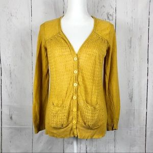 Anthropologie Sparrow Mustard Crochet Cardigan S